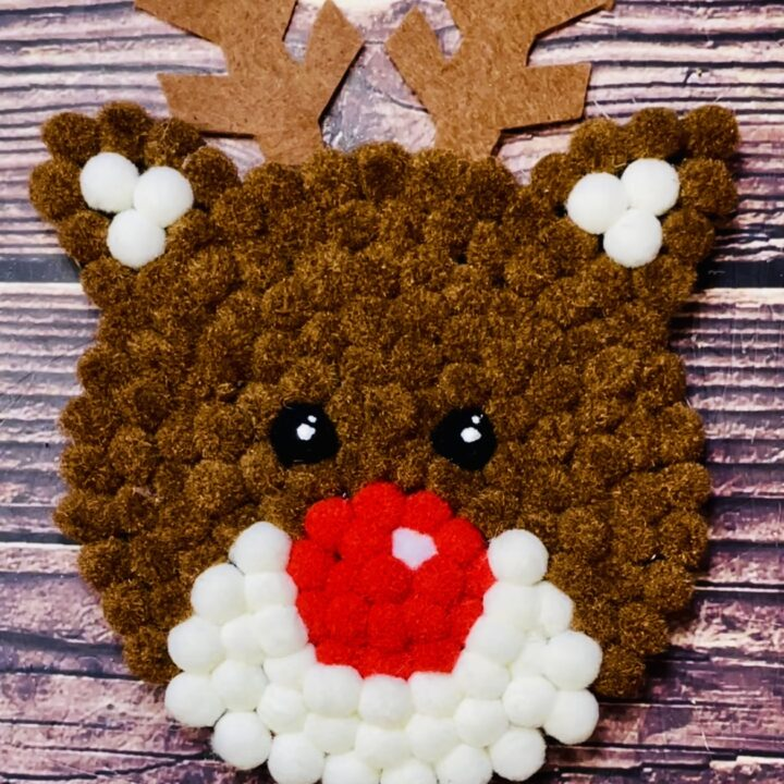 Adorable DIY Rudolph Pom Pom Coaster
