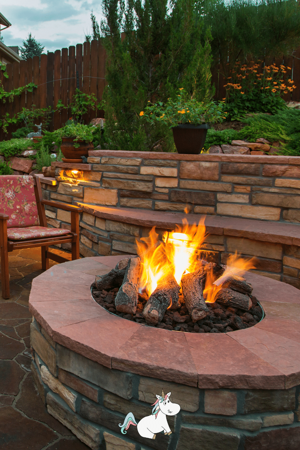 Fire pit with stone seating