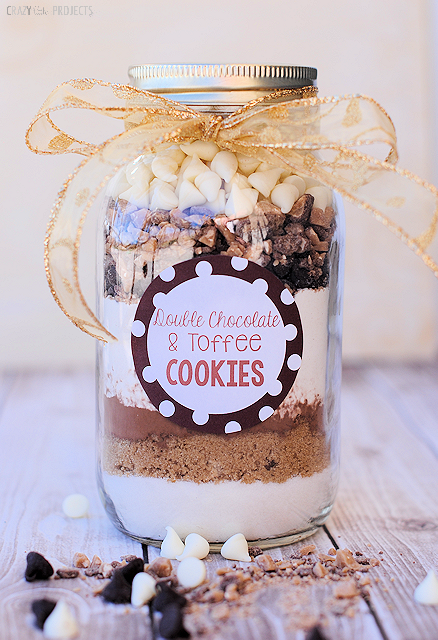 Chocolate and toffee cookie mix in jars is one of the most affordable ideas in this list of 101 wedding mason jar ideas