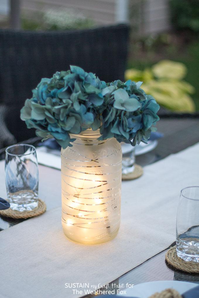 DIY frosted mason jar lantern