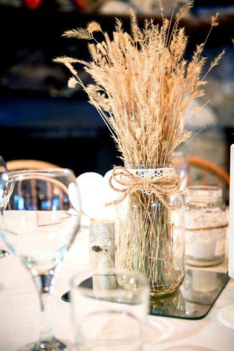 Wheat Filled Mason Jars