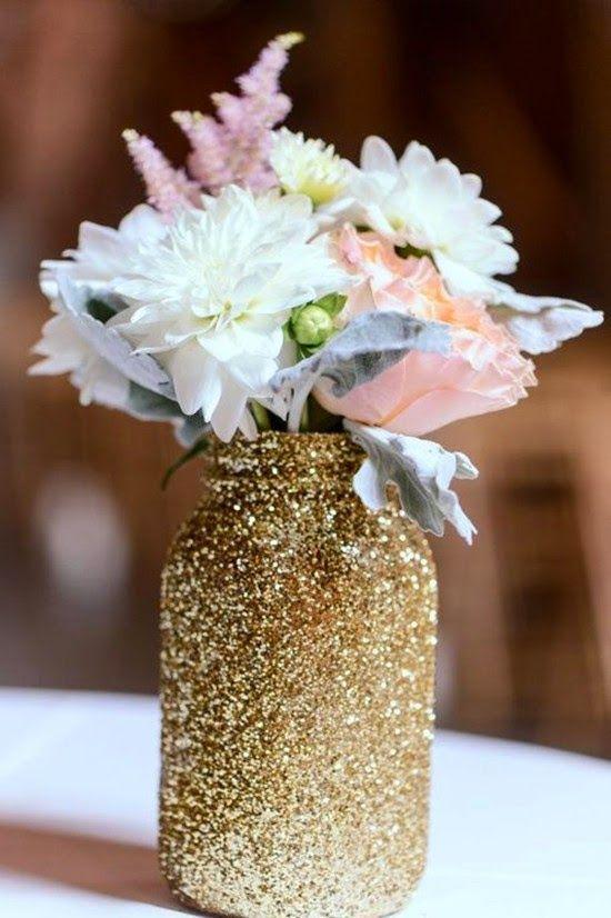 DIY gold glitter mason jar