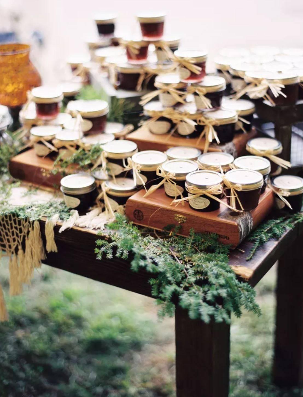 Homemade jam jar wedding favors