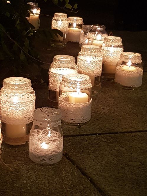 Mason candle votives wrapped with lace