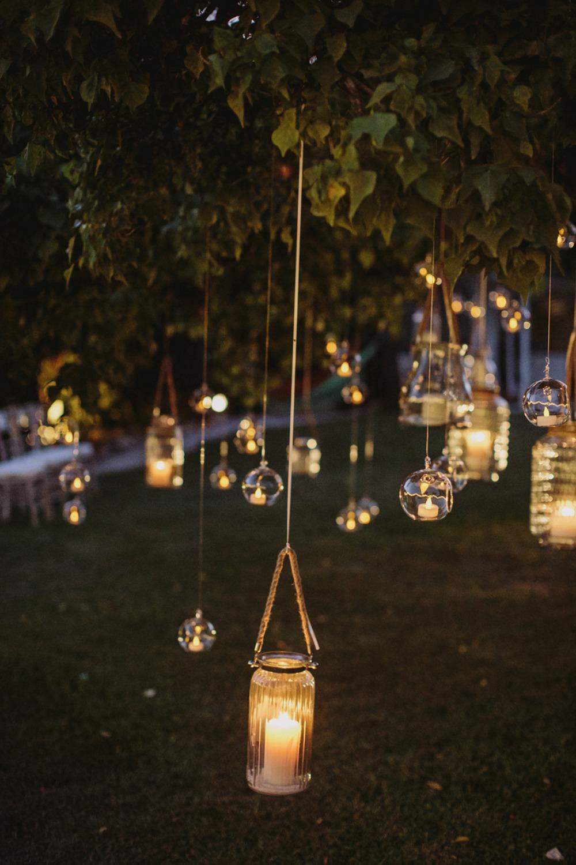 Outdoor wedding lighting mason jars