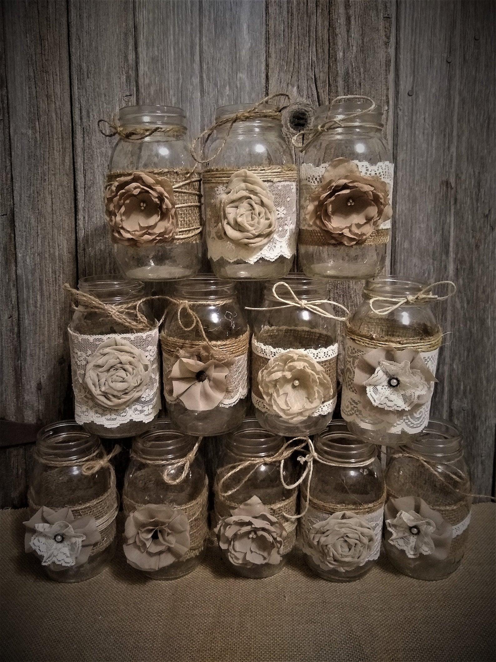 Rustic Burlap Mason Jars
