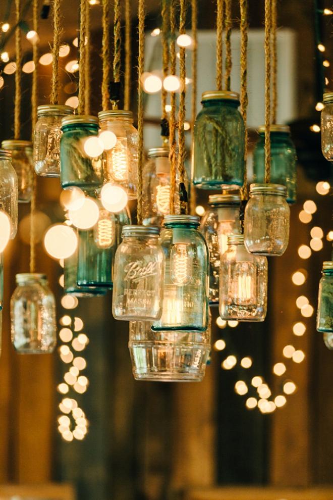 DIY Wedding lighting using mason jars