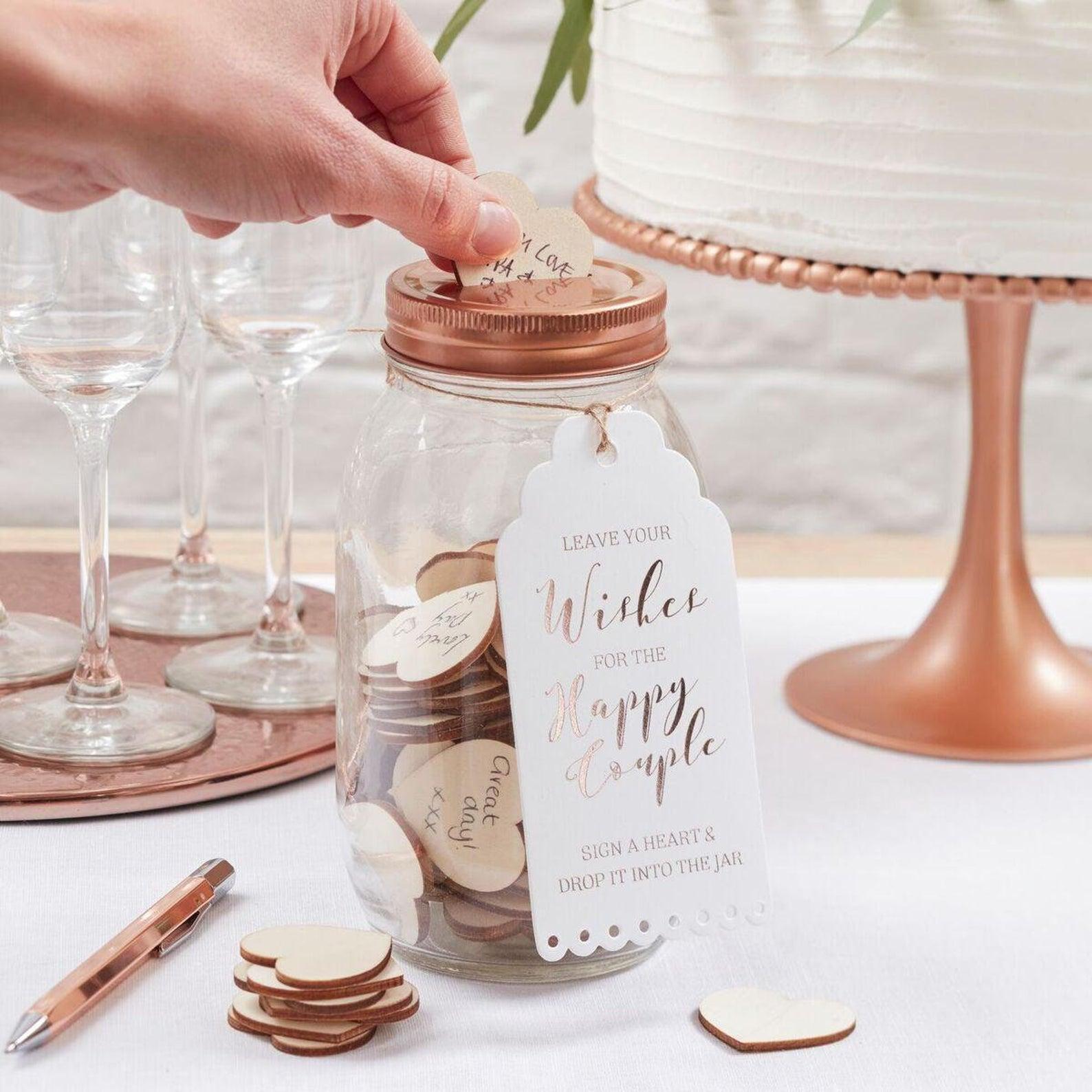 Wedding wishing jar guest book alternative