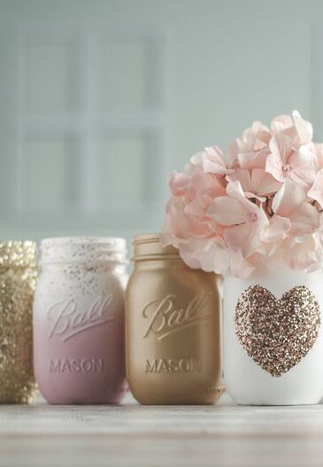Gold and blush ombre mason jars with glitter heart detail
