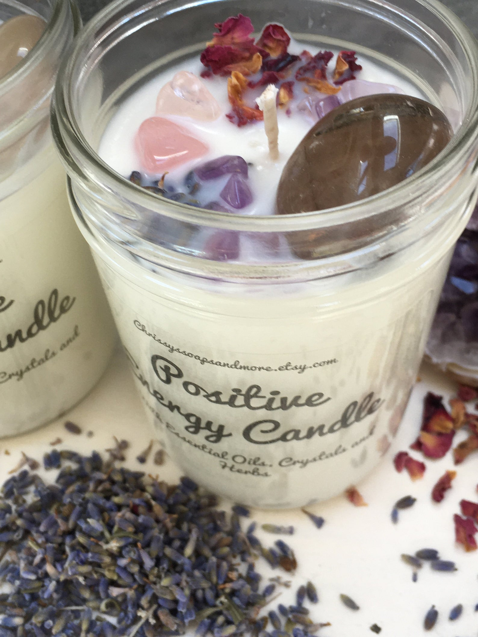 Positive energy candle with crystals