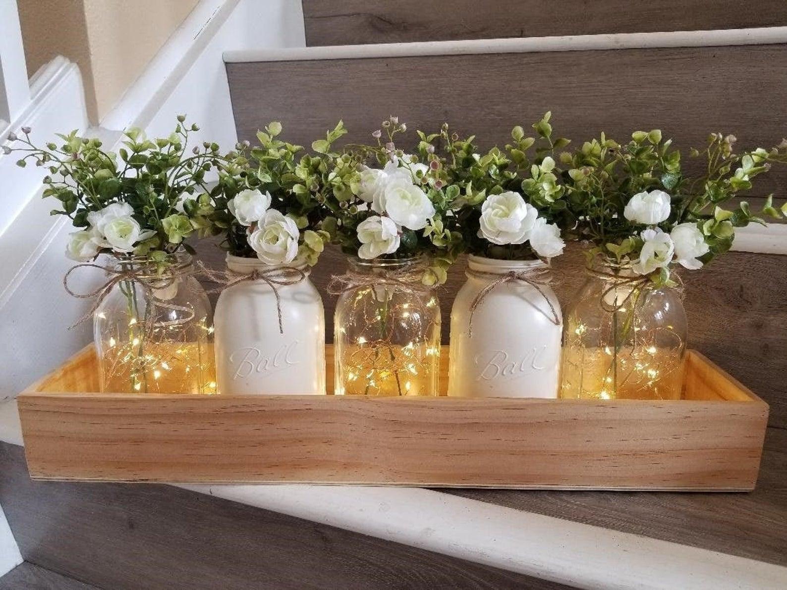 Rustic wedding centerpiece in wooden box