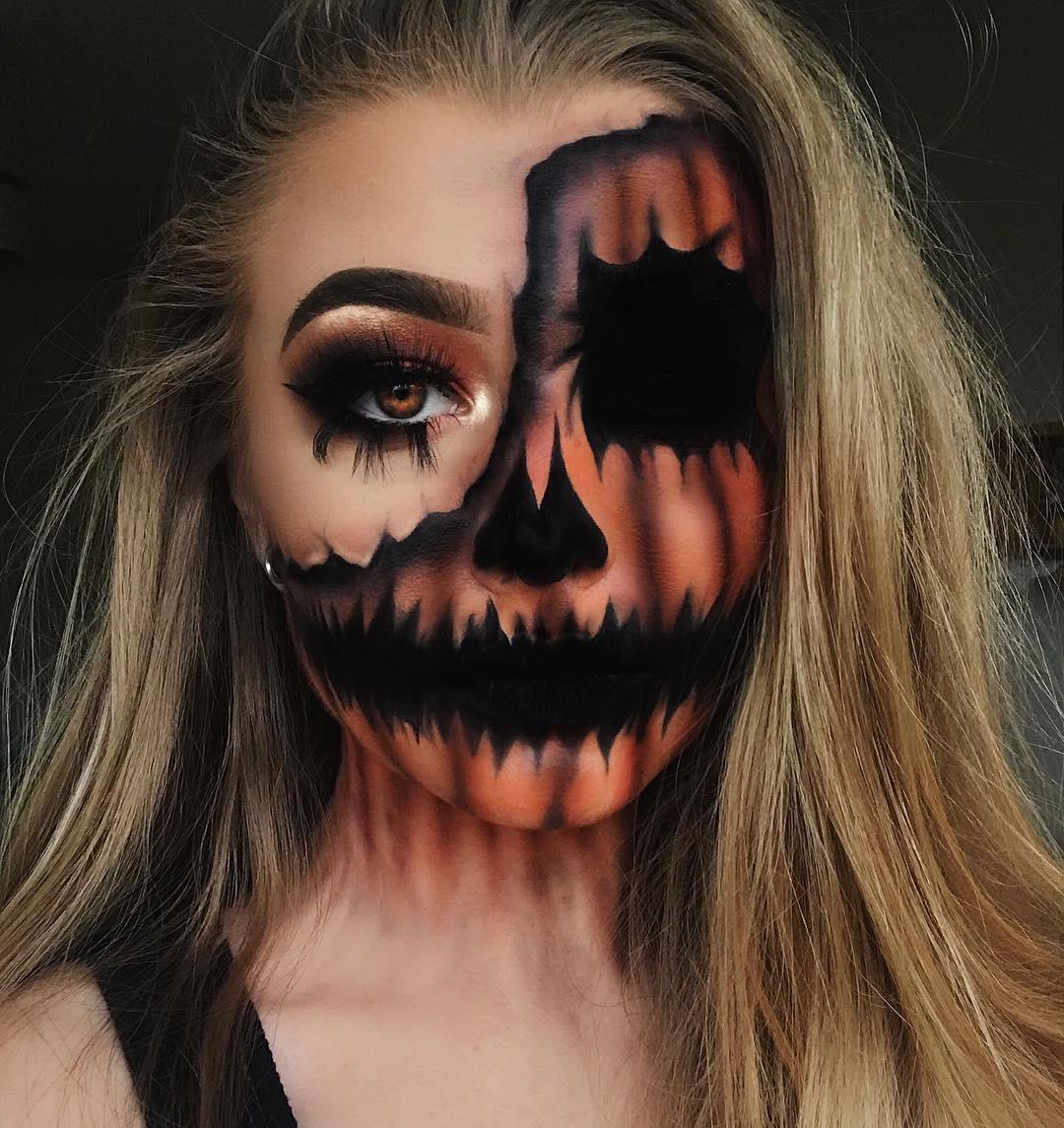 creepy pumpkin face paint for halloween