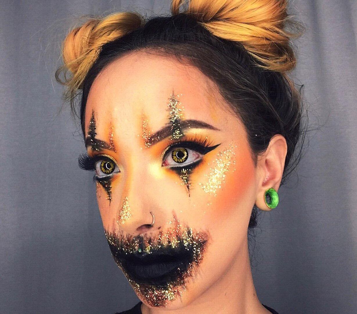 Pumpkin inspired glitter face paint look