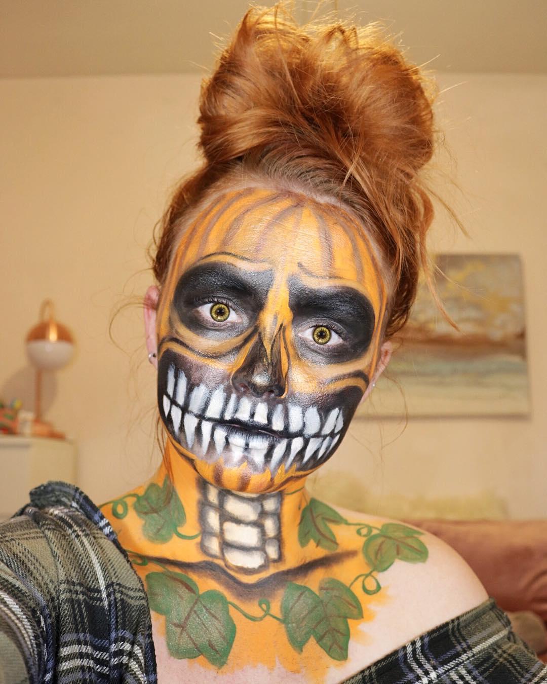 Skeleton pumpkin makeup