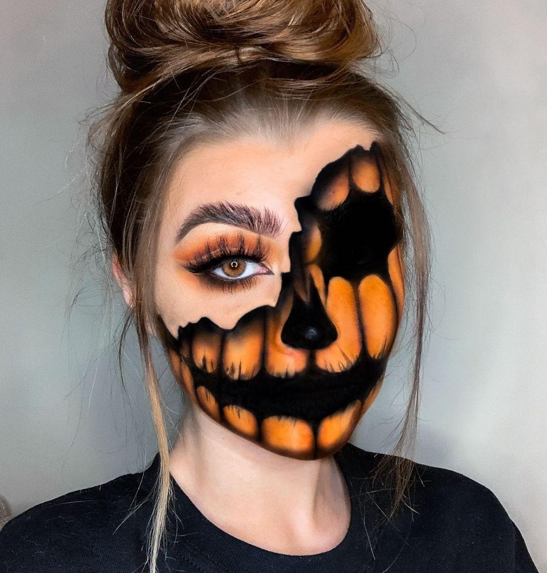 Cute pumpkin face paint