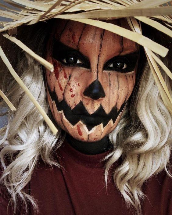 Scary Pumpkin Makeup Look