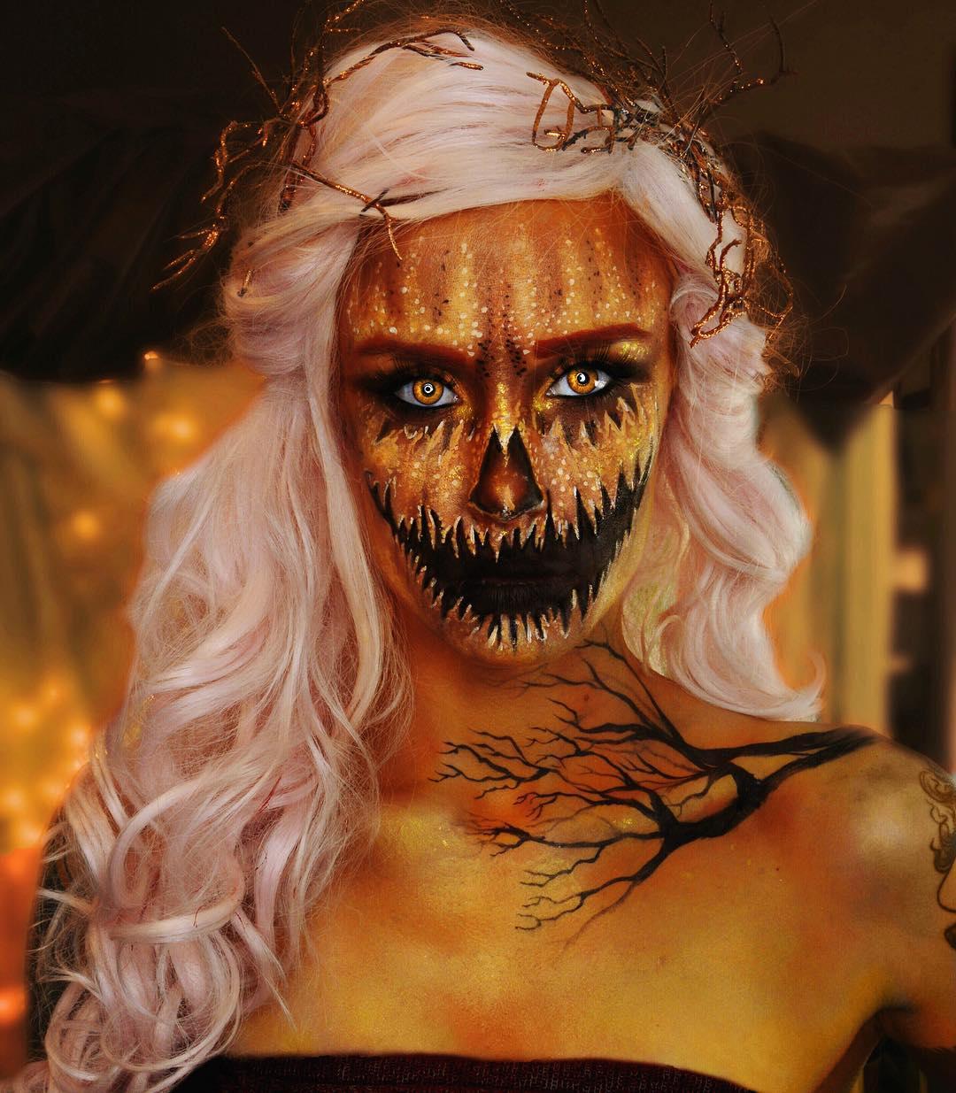 Glitter pumpkin face paint idea